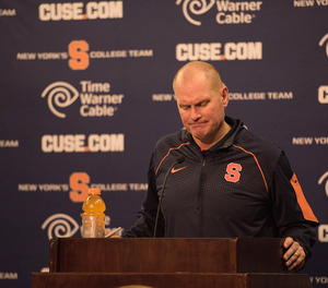 Syracuse head coach Scott Shafer was fired Monday. He will still coach the Orange when it plays Boston College in its final regular season game on Saturday.