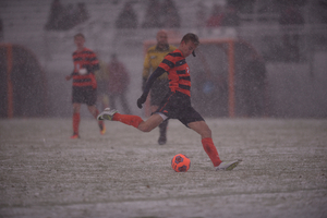 Syracuse beat Dartmouth, 3-0, last week at SU Soccer Stadium to reach the third round. Snow that accumulated on the field has affected potential playing conditions.