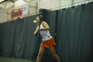 Gabriella Knutson went up 4-0 in the first set. But she struggled the rest of the way after hurting her knee.