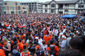 Hundreds of Syracuse University students gathered at Castle Court before the SU men's basketball team played in the Final Four two years ago.